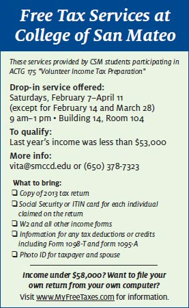 Free Tax Services at CSM