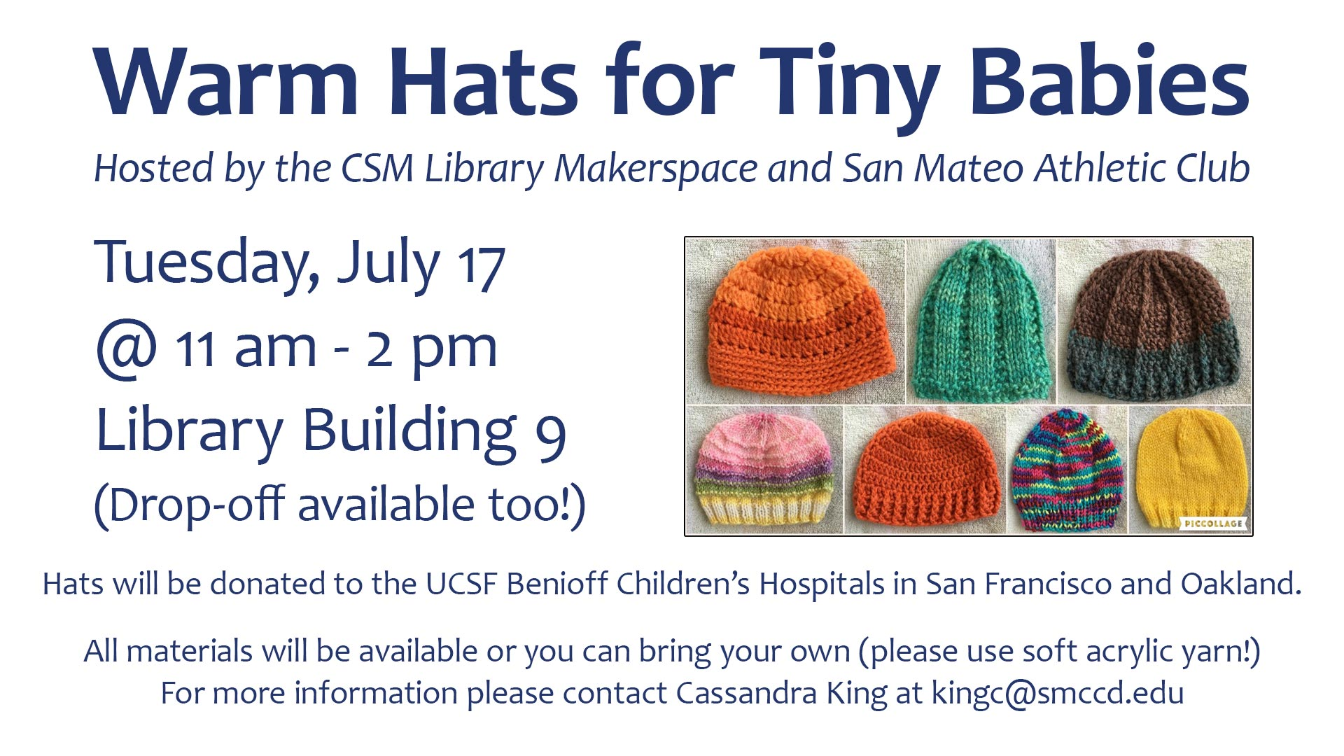 Tiny Hats for Small Babies Event sign