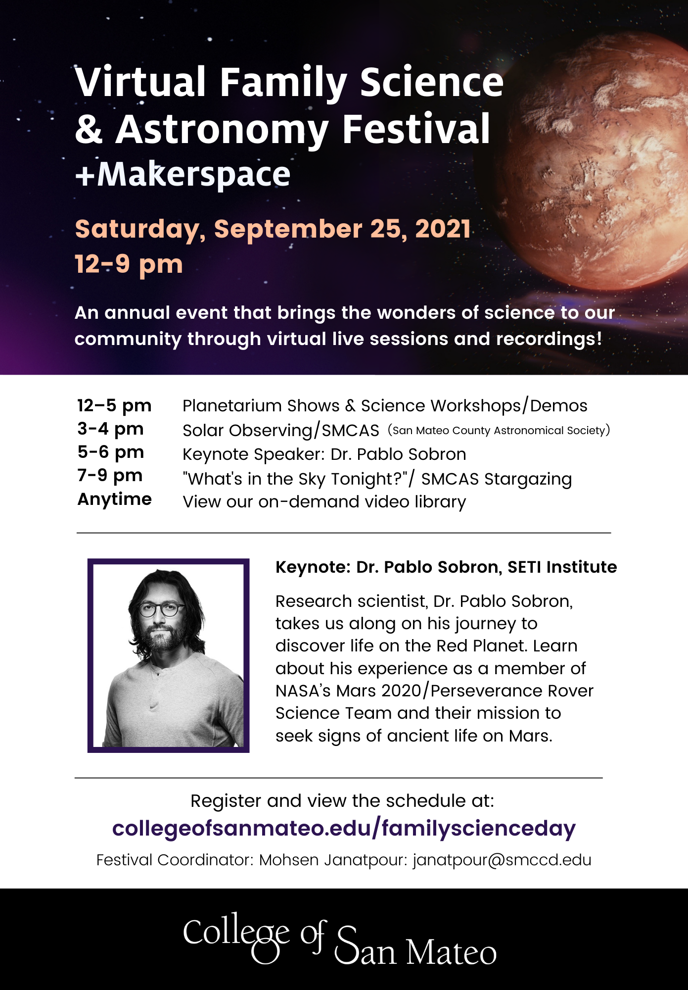 Virtual Family Science & Astronomy Festival + Makerspace Flier