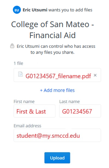 Financial Aid Dropbox Example