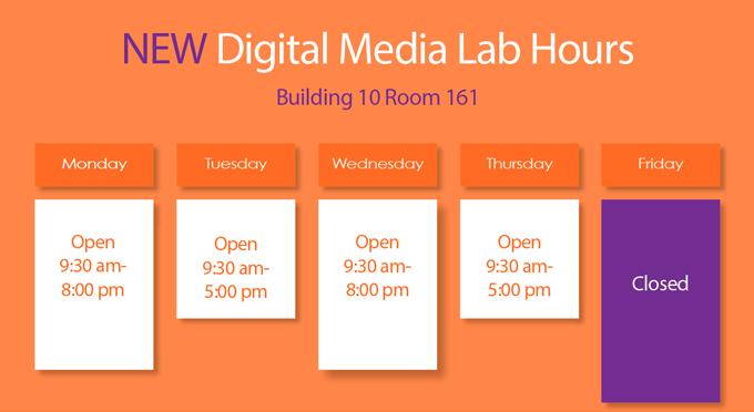Fall 2017 Digital Media Lab Hours