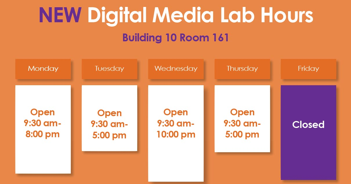 Fall 2016 Digital Media Lab Hours