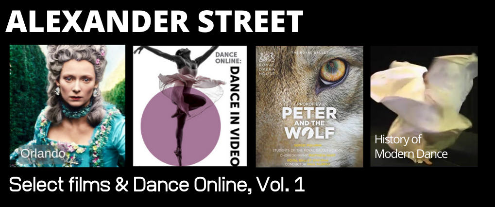 Poster images from Orlando, Dance in Video, Peter and the Wolf, and History of Modern Dance