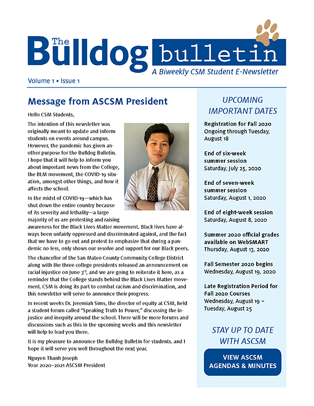CSM Student Newsletter - Volume 1, Issue 1