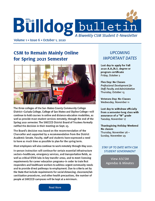 CSM Student Newsletter - Volume 1, Issue 6