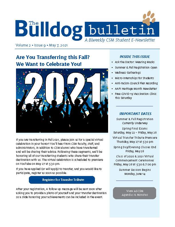 CSM Student Newsletter - Volume 2, Issue 9