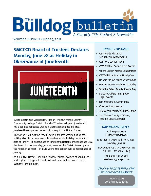 CSM Student Newsletter - Volume 2, Issue 11