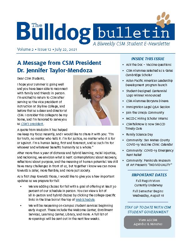 CSM Student Newsletter - Volume 2, Issue 12