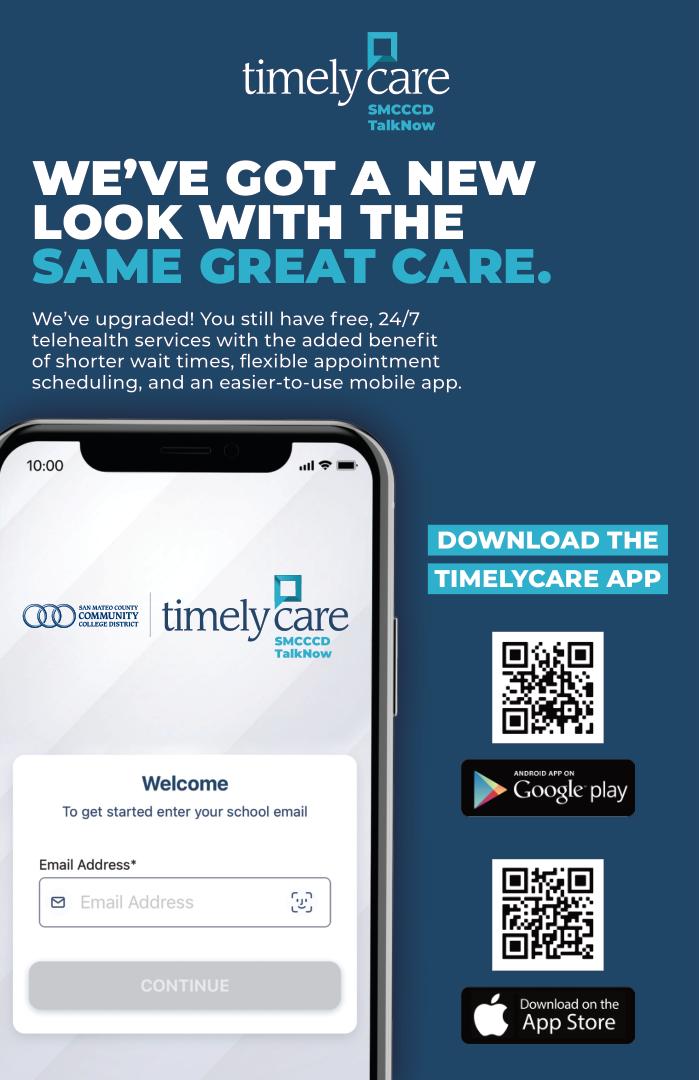 TimelyCare | SMCCCD TalkNow flier